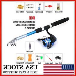 1.8m Telescopic Carp Fishing Rod and Reel Combo Full Kit Pol