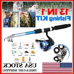 13-in-1 5.9ft Telescopic Fishing Rod Reels Combo Full Kit Po