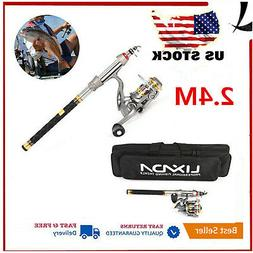 2.4m Telescopic Fishing Rod Reel Combo Kit Spinning Organize