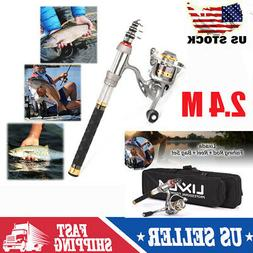 Lixada Telescopic Fishing Rod +Reel Combo Full Kit Gear Orga