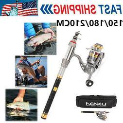 2020 Telescopic Fishing Rod Reel Combo Full Kit Spinning Fis