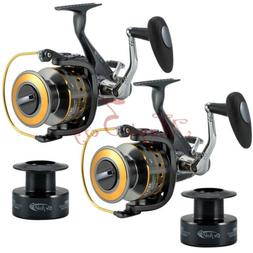 2x spinning fishing reels saltwater bait feeder