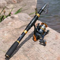 Fishing Rod & Reel Carbon Fiber Telescopic Fishing pole with