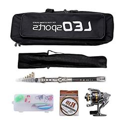 OUTLIFE Fishing Tackle Kit with Spinning Rod Reel Combos Lin