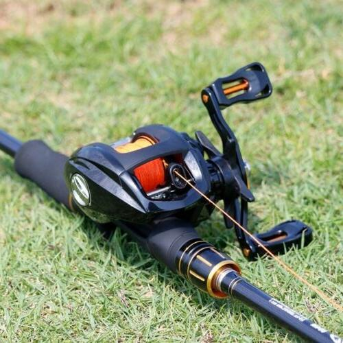 Sougayilang 2.4M 4 Baitcasting Rod and Casting Right Hand Reel