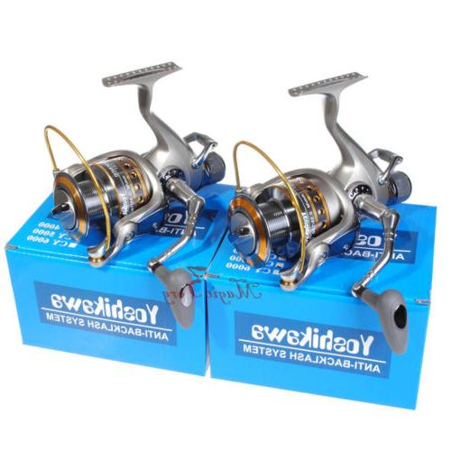 2x surf spinning fishing reels baitfeeder saltwater