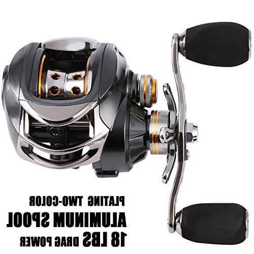 Sougayilang Baitcasting Stainless Bearings, 18LB Super Drag, System Reel for Bass, Crappies, Perch, Walleyes