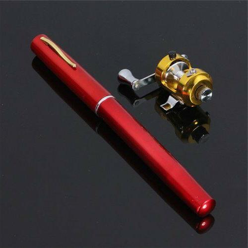 Mini Pen Aluminum Alloy Fishing Rod Pole NEW