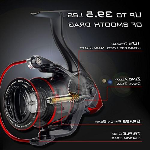 KastKing Fishing Reel Reel - Fiber 39.5 Max - Stainless for Freshwater - Oversize Shaft Super Value!