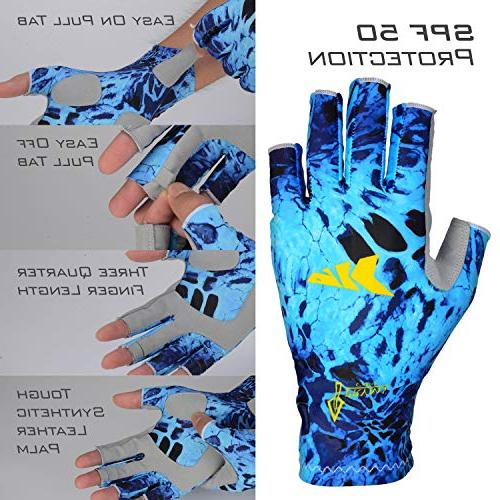 KastKing Fishing SPF 50 Rowing, Cycling, Outdoor Fingerless Gloves & Women -