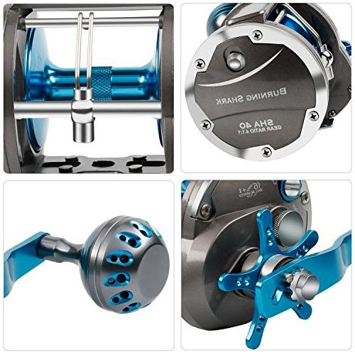 Burning Shark Trolling Saltwater Wind Reels, Drag Ocean for Sea Bass Grouper Salmon