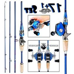Sougayilang Rod and Reel 2.1M Carbon 4 Pieces Fishing Rod wi