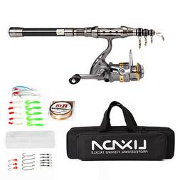 Telescopic Fishing Rod Combo Full Kit Gear Spinning Reel Lin