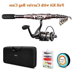 PLUSINNO Telescopic Fishing Rod Reel Combos Full Kit, Spinni
