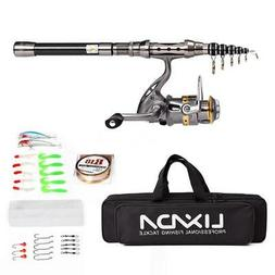 Telescopic Fishing Rod and Reel Combo Spinning Organizer Lin