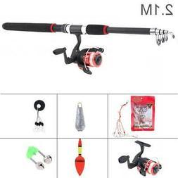 Telescopic Spinning Fishing Rod Reel Combos Full Kit Fishing